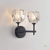 Modern Crystal Wall Lamp in Luxurious Gold Handles & Matte Black Paintwork. Singapore Lighting for BTO, Resale, EC, Condo, Landed, Restaurants, Retail & Cafes. Free Delivery