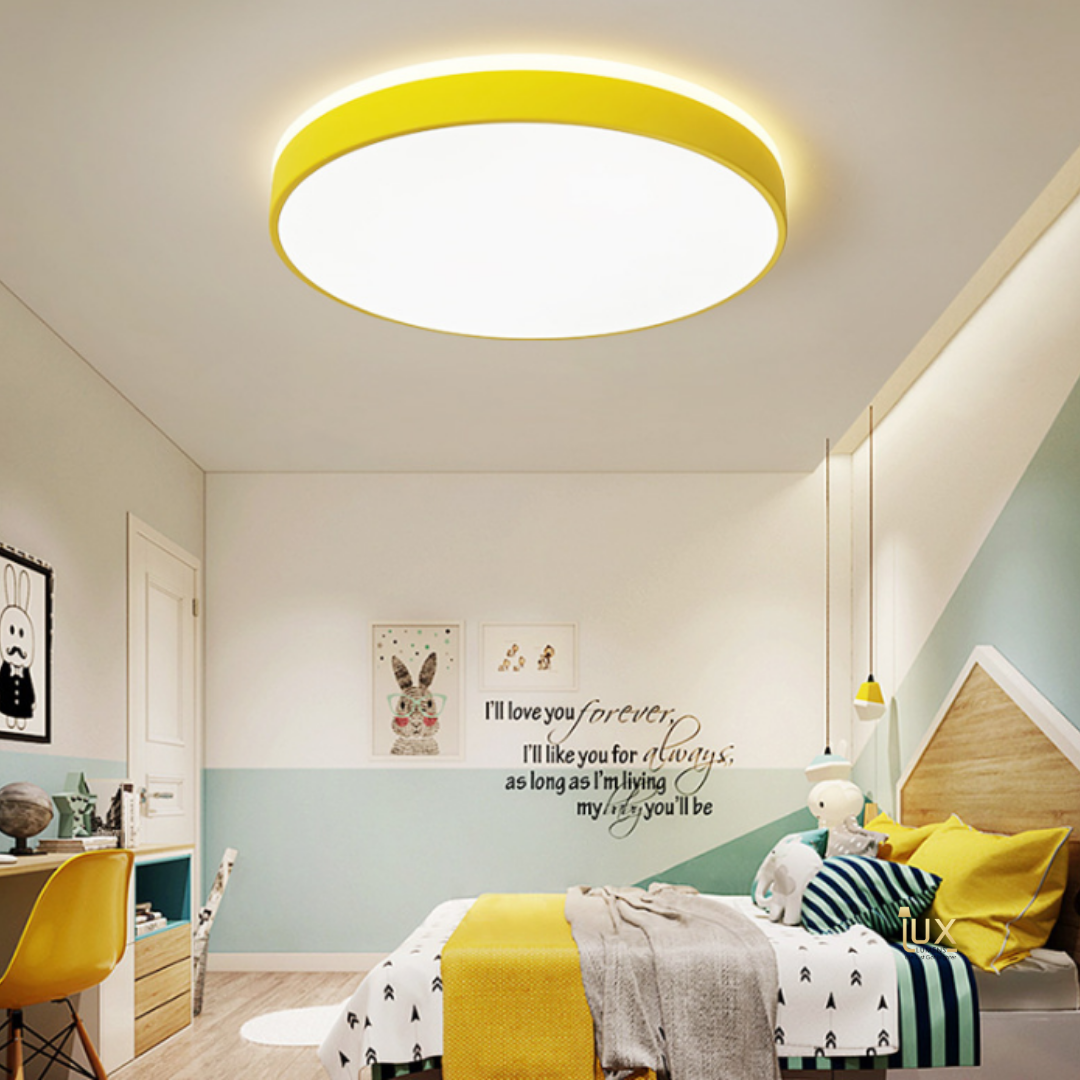 Monochromatic  x Macaron Round LED Ceiling Light in Beautiful & Fun Colours and Extra Bright Light Projection. For all BTO Lighting, Resale Lighting, Condo Lighting, EC Lighting, Landed Lighting, Restaurants Lighting, Hotel Lighting, Cafe Lighting & Retail Lighting
