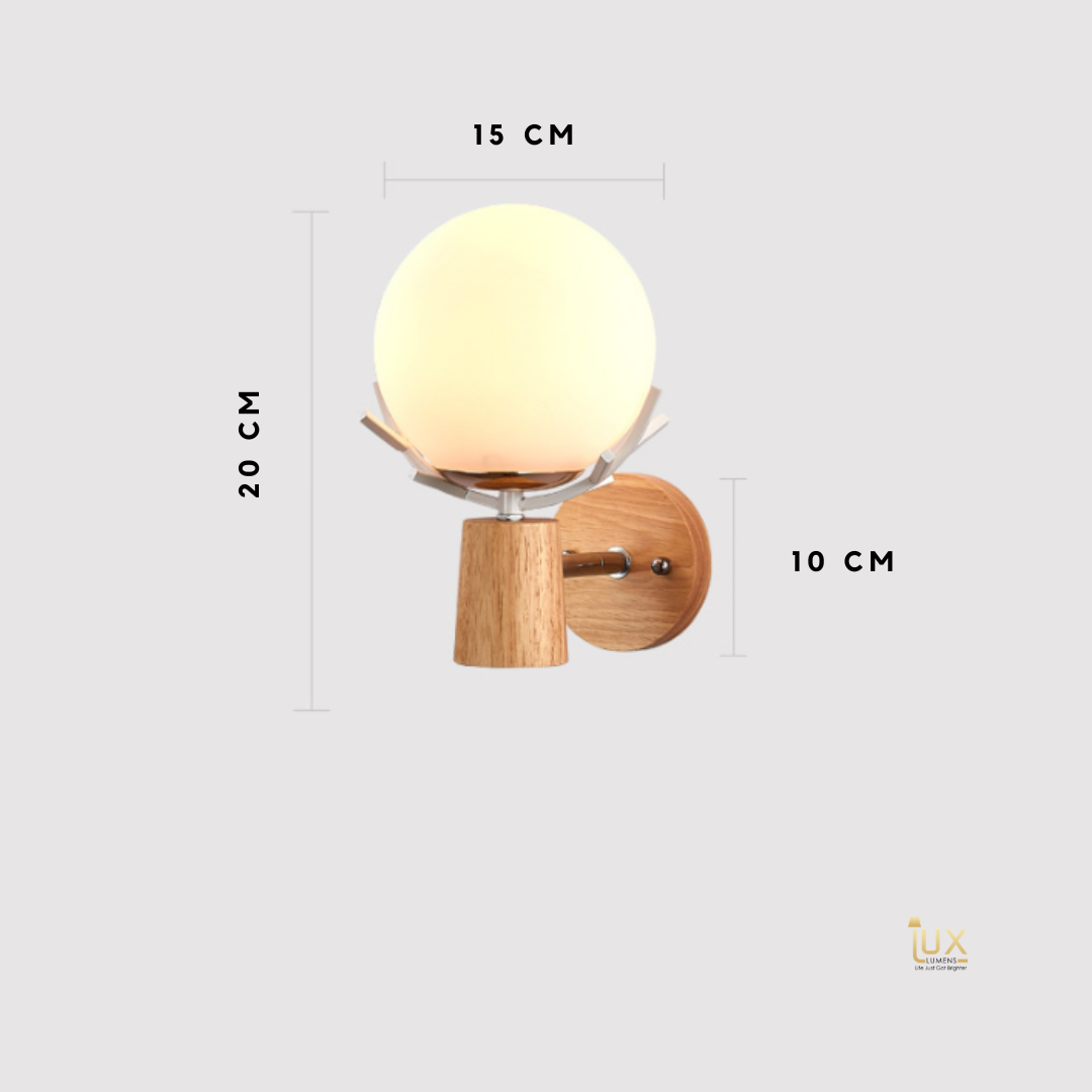 Scandinavian Globe Wall Lamps in Wood from Singapore's Online Lighting Gallery. Free Island-wide Delivery - No Minimum Purchase for all BTO, Resale, EC, Condo, Restaurants, Cafes, Hotel & Retail Lighting.