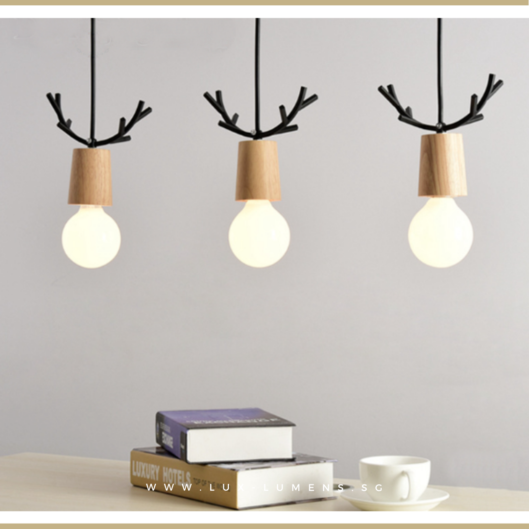 Singapore's Fully-Online Lighting Gallery - Pendant Lights, LED Ceiling Lights & Wall Lamps. Complement your Scandinavian & Nordic Themed Homes/Business with the Scandinavian Reindeer's Antlers Pendant Light. LED Bulbs Compatible. Free Island-wide Delivery - No Minimum Purchase for all BTO, Resale, EC, Condo, Restaurants, Cafes, Hotel & Retail Lighting.