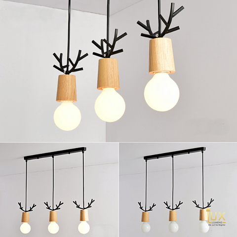 Lux-Lumens | Singapore's Fully-Online Lighting Retail - Pendant Lights, LED Ceiling Lights & Fans. Complement your Scandinavian & Nordic Themed Homes/Business with the Scandinavian Reindeer's Antlers Pendant Light. LED Bulbs Compatible. Free Island-wide Delivery - No Minimum Purchase for all BTO, Resale, EC, Condo, Restaurants, Cafes, Hotel & Retail Lighting.