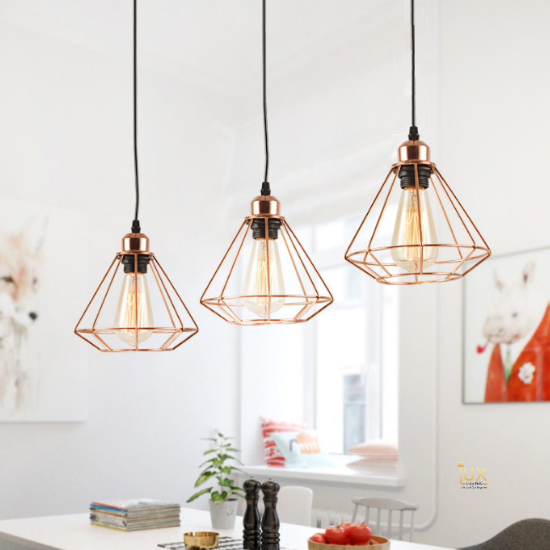 Singapore's Fully-Online Lighting Gallery - Pendant Lights, LED Ceiling Lights & Wall Lamps. Modern meets Luxury with the Rose Gold-Caged Pendant Light. Instant utility savings of up to 40% by fitting the lamp with LED Bulbs. Free Delivery - No Minimum Purchase for all BTO, Resale, EC, Condo, Restaurants, Cafes & Hotel.