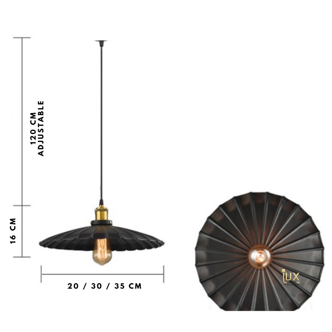Vintage Industrial Gramophone Pendant Light with Matte Black Oven-baked Paintwork fitted with LED Edison Bulbs for a complete Industrial feel from Lux-Lumens, Singapore's Fully-Online Lighting Retail for BTO, Resale, EC, Condo, Landed, Restaurants, Cafes, Hotels & Retail Shops. Free-Delivery, No Minimum Purchase!