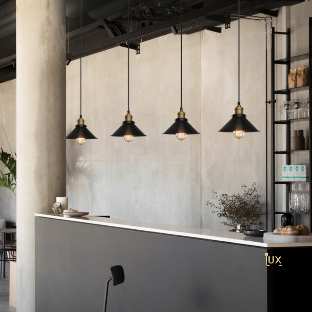 Vintage Ohio Conical Pendant Light with Matte Black Oven-baked Paintwork from Lux-Lumens, Singapore's Fully-Online Lighting Gallery for BTO, Resale, EC, Condo, Landed, Restaurants, Cafes, Hotels & Retail Shops. Free-Delivery, No Minimum Purchase!