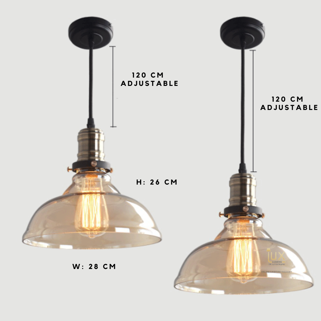 Vintage Industrial Wyoming Pendant Light with Glass Body fitted with LED Edison Bulbs for a complete Industrial feel from Lux-Lumens, Singapore's Fully-Online Lighting Retail for BTO, Resale, EC, Condo, Landed, Restaurants, Cafes, Hotels & Retail Shops. Free-Delivery, No Minimum Purchase!