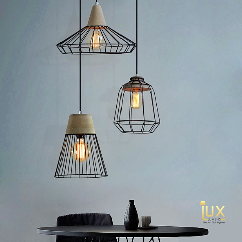 Vintage Industrial Buffalo Pendant Light, Made from Real Cement and oven-baked paintwork from Lux-Lumens, Singapore's Fully-Online Lighting Retail for BTO, Resale, EC, Condo, Landed, Restaurants, Cafes, Hotels & Retail Shops. Free-Delivery, No Minimum Purchase!