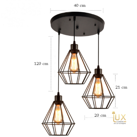 Vintage Industrial Dakota Pendant Light with Matte Black & Industrial Bronze Oven-baked Paintwork fitted with LED Edison Bulbs for a complete Industrial feel from Lux-Lumens, Singapore's Fully-Online Lighting Retail for BTO, Resale, EC, Condo, Landed, Restaurants, Cafes, Hotels & Retail Shops. Free-Delivery, No Minimum Purchase!