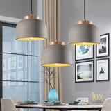 Singapore Pendant Lights - Vintage Industrial Albany Pendant Light with wooden handles and real cement body from Lux-Lumens, Singapore's Fully-Online Lighting Retail for BTO, Resale, EC, Condo, Landed, Restaurants, Cafes, Hotels & Retail Shops. Free-Delivery, No Minimum Purchase in Singapore!