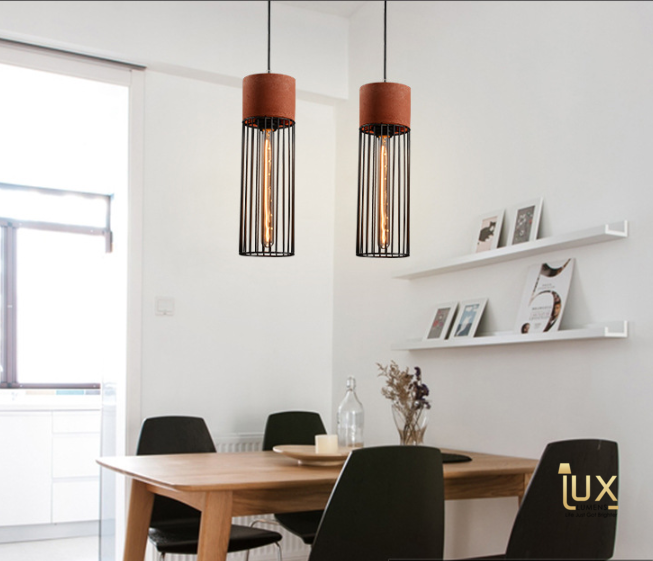 Vintage Carolina Pendant Light with Matte Black Oven-baked Paintwork from Lux-Lumens, Singapore's Fully-Online Lighting Retail for BTO, Resale, EC, Condo, Landed, Restaurants, Cafes, Hotels & Retail Shops. Free-Delivery, No Minimum Purchase!