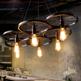 Vintage Industrial Cartwheel Pendant Light with Matte Black & Industrial Bronze Oven-baked Paintwork fitted with LED Edison Bulbs for a complete Industrial feel from Lux-Lumens, Singapore's Fully-Online Lighting Retail for BTO, Resale, EC, Condo, Landed, Restaurants, Cafes, Hotels & Retail Shops. Free-Delivery, No Minimum Purchase!