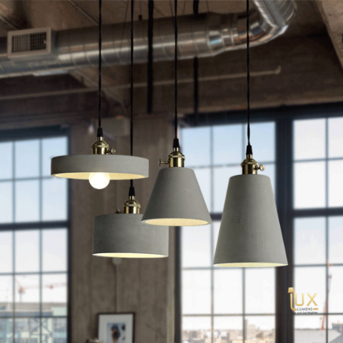 Vintage Cement Pendant Light with gold handles and grey cement body from Lux-Lumens, Singapore's Fully-Online Lighting Retail for BTO, Resale, EC, Condo, Landed, Restaurants, Cafes, Hotels & Retail Shops. Free-Delivery, No Minimum Purchase!
