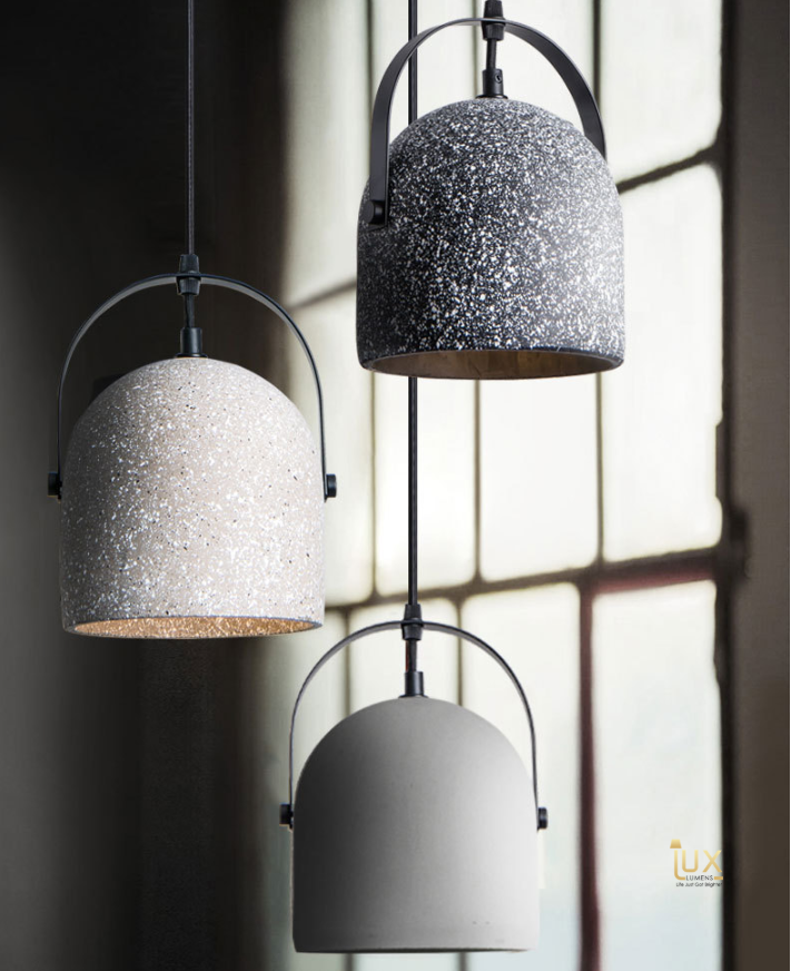 Singapore Pendant Lights - Vintage Industrial Cement Pendant Light with gold handles and grey cement body from Lux-Lumens, Singapore's Fully-Online Lighting Retail for BTO, Resale, EC, Condo, Landed, Restaurants, Cafes, Hotels & Retail Shops. Free-Delivery, No Minimum Purchase!