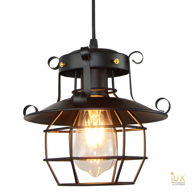 Vintage Industrial Detroit Pendant Light with Matte Black Oven-baked Paintwork fitted with LED Edison Bulbs for a complete Industrial feel from Lux-Lumens, Singapore's Fully-Online Lighting Retail for BTO, Resale, EC, Condo, Landed, Restaurants, Cafes, Hotels & Retail Shops. Free-Delivery, No Minimum Purchase!