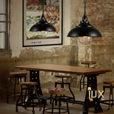 Vintage Industrial Illinois Pendant Light with Matte Black Oven-baked Paintwork fitted with LED Edison Bulbs for a complete Industrial feel from Lux-Lumens, Singapore's Fully-Online Lighting Retail for BTO, Resale, EC, Condo, Landed, Restaurants, Cafes, Hotels & Retail Shops. Free-Delivery, No Minimum Purchase!