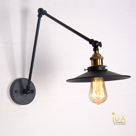 Singapore Lighting Gallery. Vintage Industrial Massachusetts Wall Lamp. Matte Black colour, free delivery for all BTO Lighting, EC Lighting, Resale Lighting, Condo Lighting, Landed Lighting, Restaurant Lighting, Cafe Lighting & Retail Lighting.