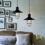 Vintage Industrial Oregon Pendant Light with Matte Black Oven-baked Paintwork fitted with LED Edison Bulbs for a complete Industrial feel from Lux-Lumens, Singapore's Fully-Online Lighting Retail for BTO, Resale, EC, Condo, Landed, Restaurants, Cafes, Hotels & Retail Shops. Free-Delivery, No Minimum Purchase!