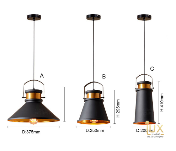 Vintage Industrial El-Monte Pendant Light with Matte Black Oven-baked Paintwork fitted with LED Edison Bulbs for a complete Industrial feel from Lux-Lumens, Singapore's Fully-Online Lighting Retail for BTO, Resale, EC, Condo, Landed, Restaurants, Cafes, Hotels & Retail Shops. Free-Delivery, No Minimum Purchase!