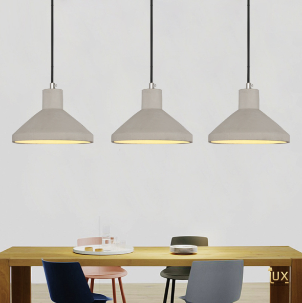 Singapore Pendant Lights - Vintage Industrial Teton LED Pendant Light with wooden handles and real cement body from Lux-Lumens, Singapore's Fully-Online Lighting Retail for BTO, Resale, EC, Condo, Landed, Restaurants, Cafes, Hotels & Retail Shops. Free-Delivery, No Minimum Purchase in Singapore!