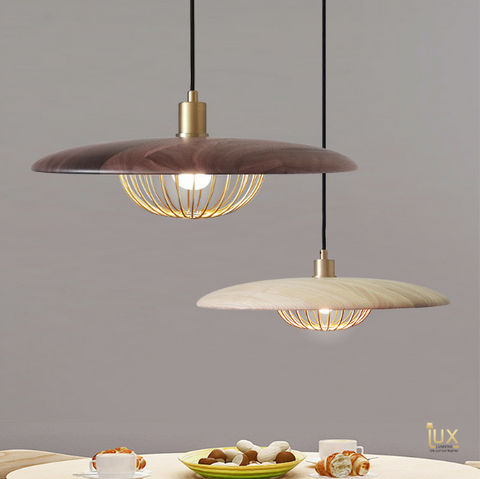 Modern Carved-Wood Pendant Light