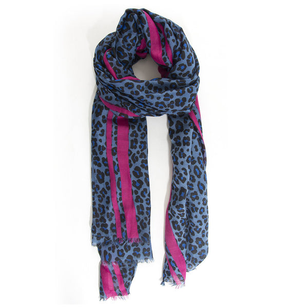 Leopard Print Scarf – Blue with pink stripe