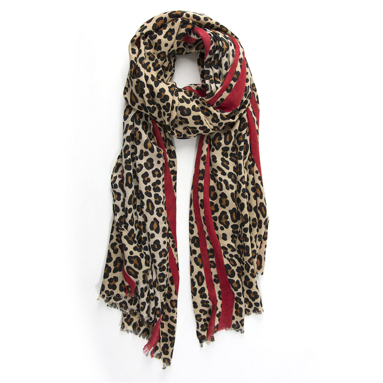 Leopard Print Scarf – Natural with red stripe