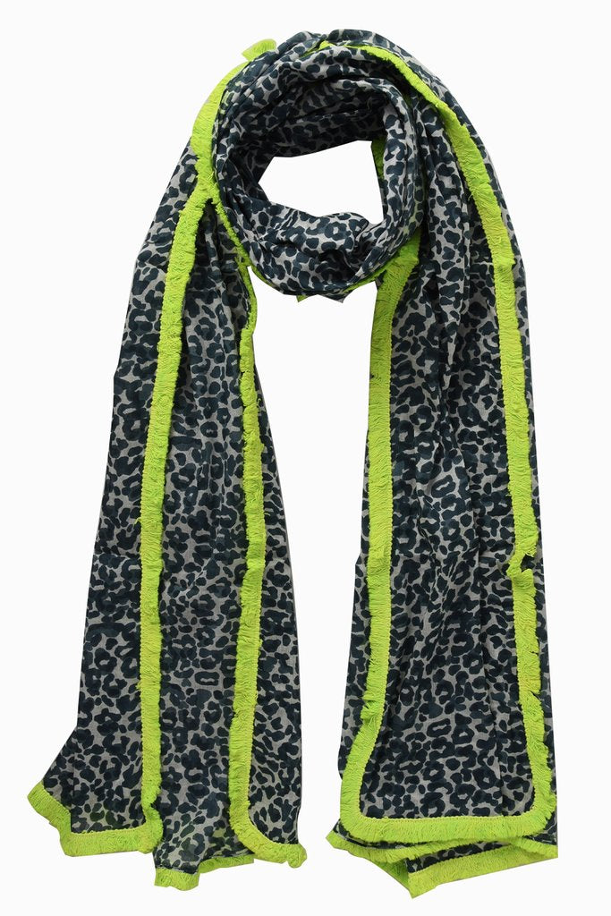 Leopard Print Scarf –  Grey Neon Yellow | Gift Pop Boutique