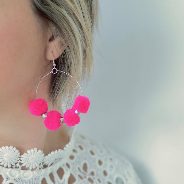 Saskia Hoop Pom Pom Earrings