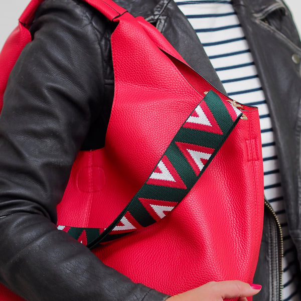 Pyramid Strap - Green Red & White