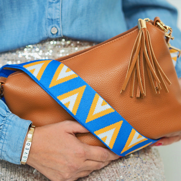 Pyramid Strap - Bright Blue Mustard & White