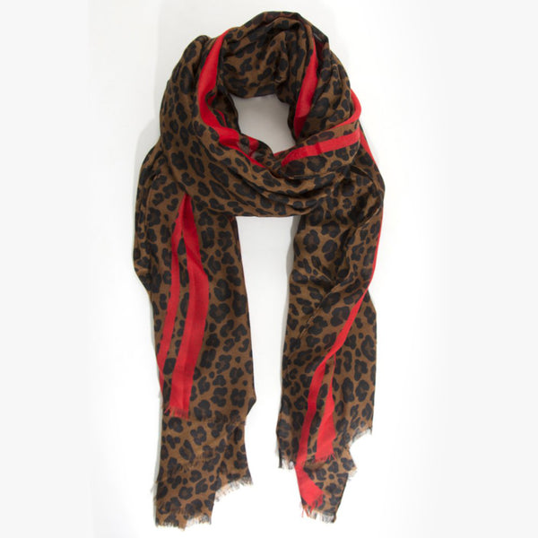 Leopard Print Scarf – Brown with red stripe
