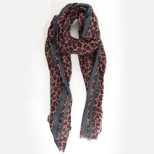 Leopard Print Scarf – Red with grey stripe