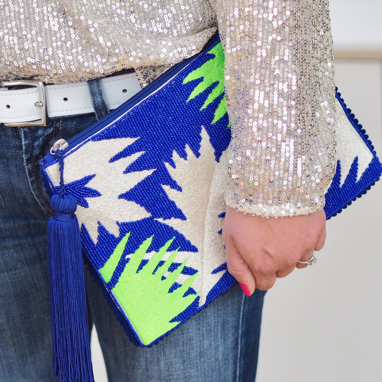Palm Clutch - Bright Blue