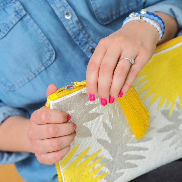 Palm Clutch - Bright Yellow