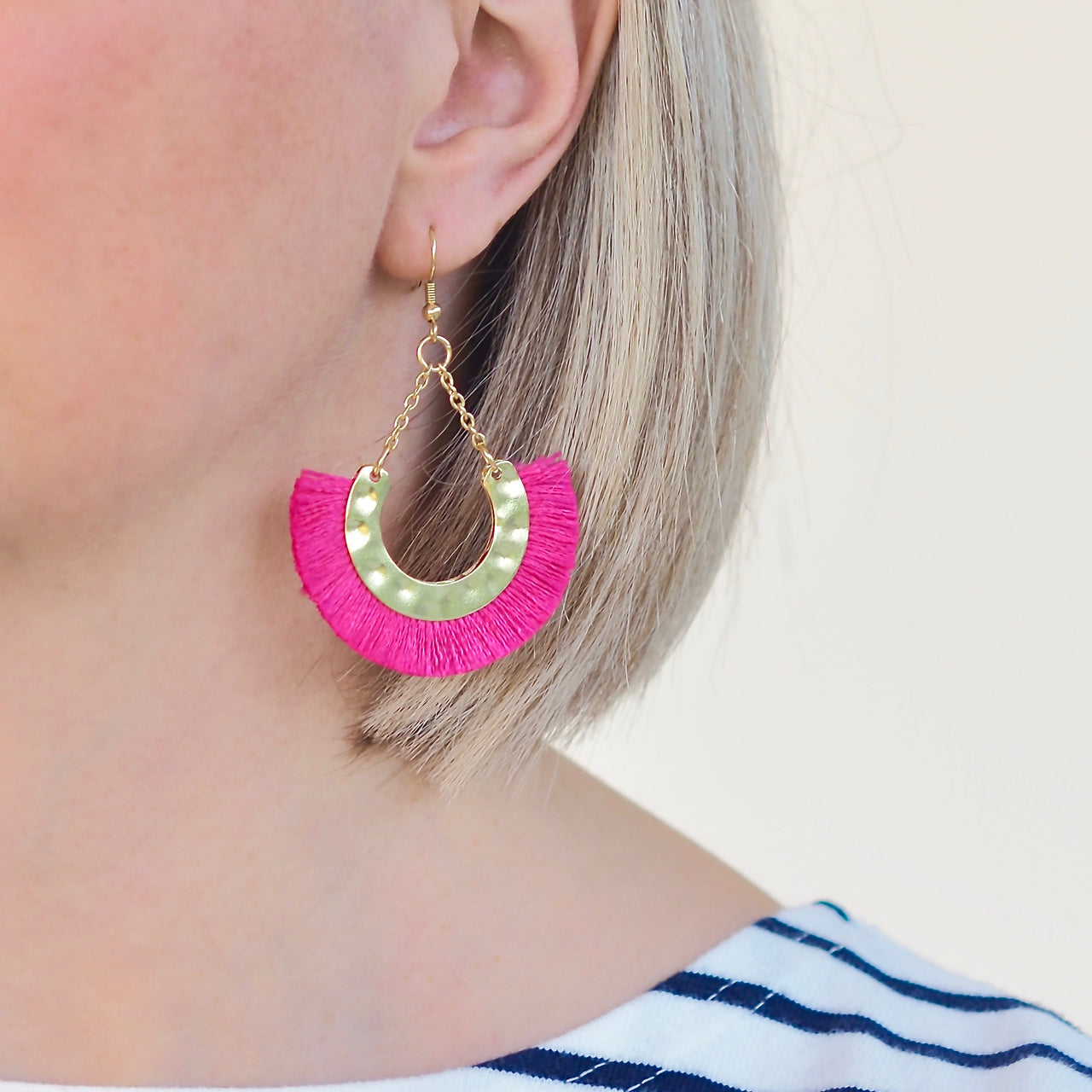 Flamenco Earrings - Pink / Gold