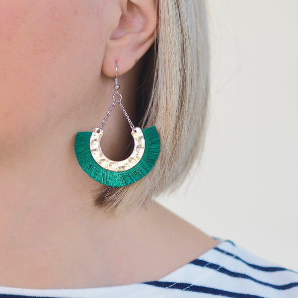 Flamenco Earrings - Green / Silver
