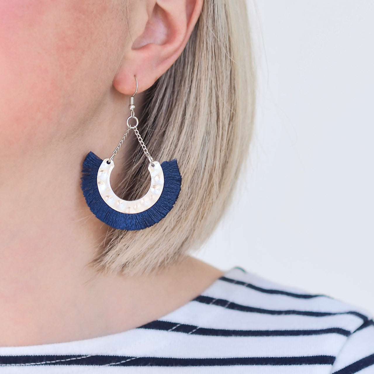 Flamenco Earrings - Navy / Silver