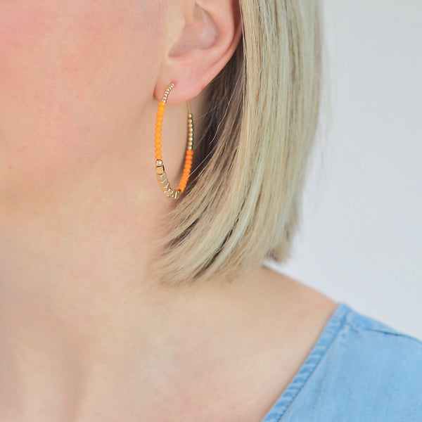 Lula Hoop Earrings - Orange/ Gold