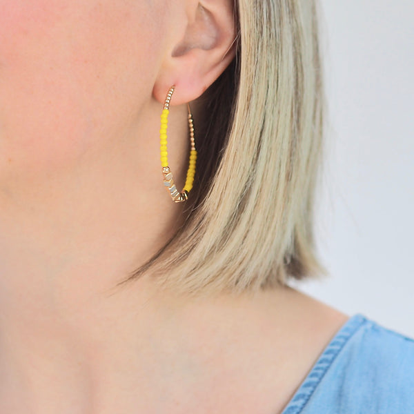 Lula Hoop Earrings - Yellow / Gold