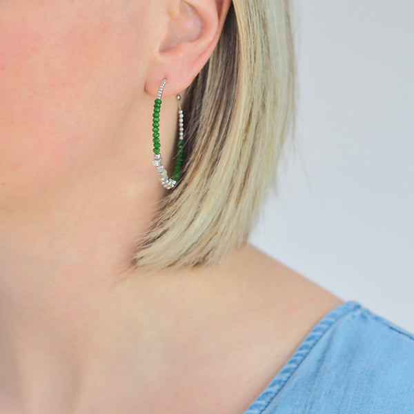 Lula Hoop Earrings - Green / Silver