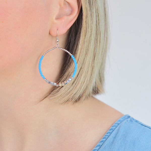 Lula Drop Hoop Earrings - Blue / Silver