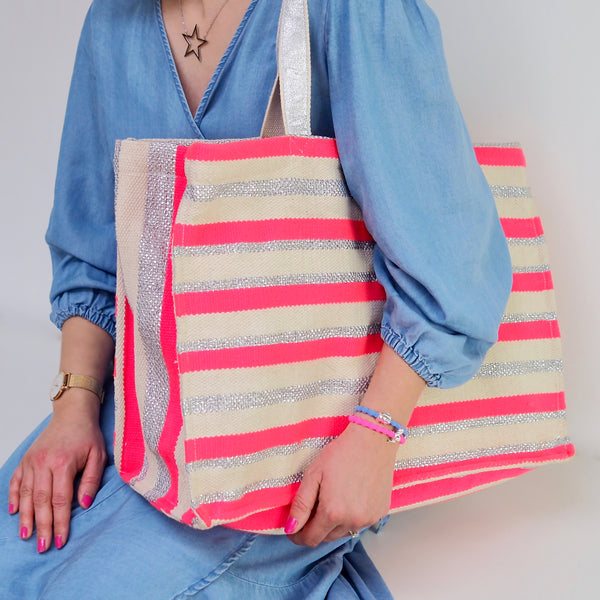 Stripey Beach Bag - Pink/ Silver