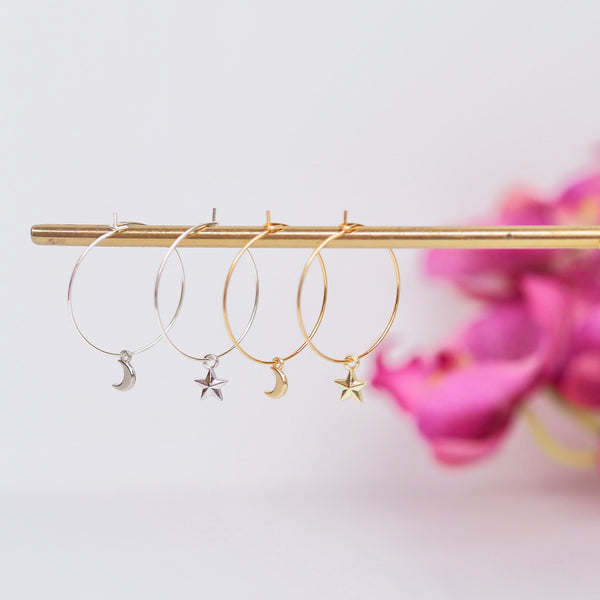 Star and Moon Earrings - Gold