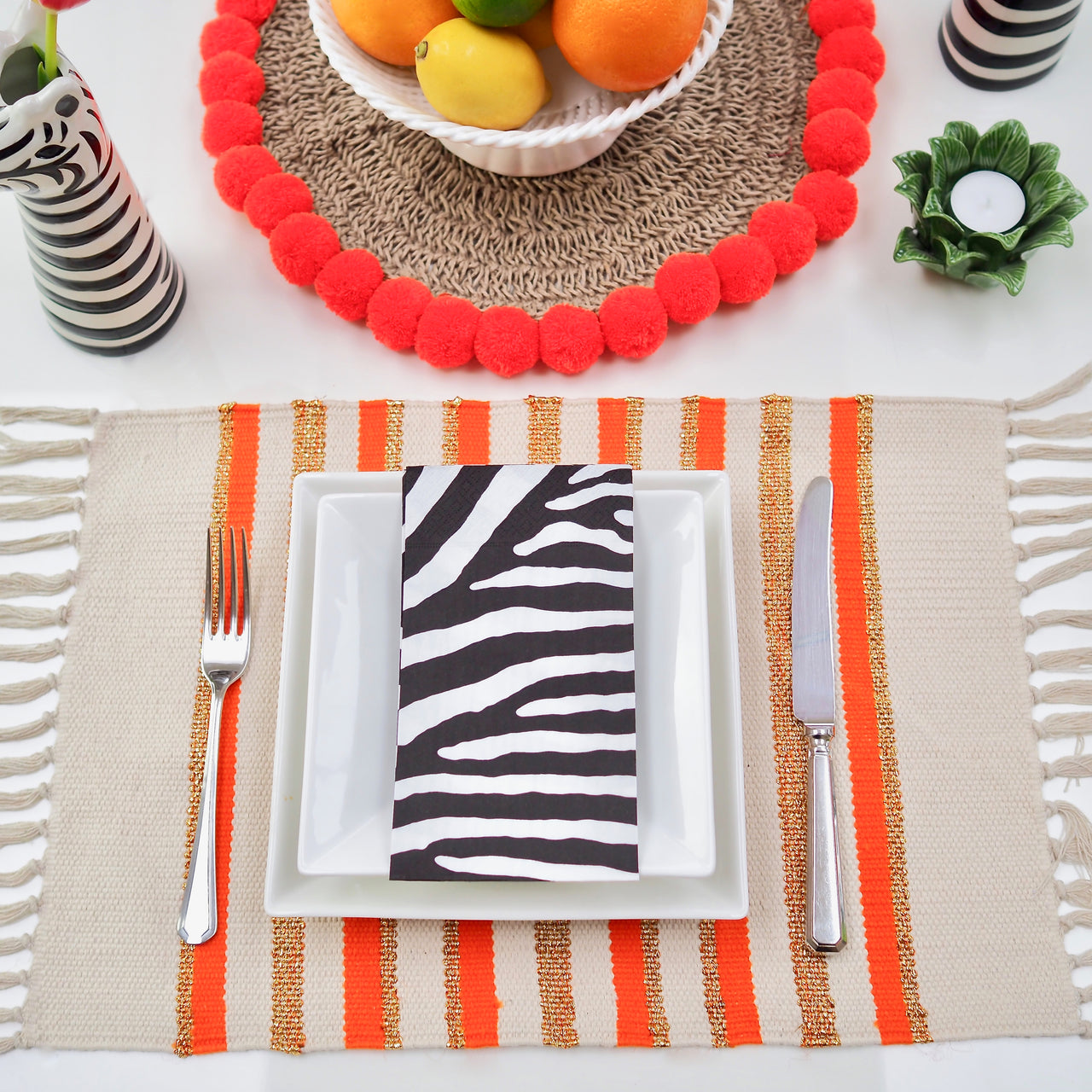 Stripey Place Mat SETS - Orange/ Gold