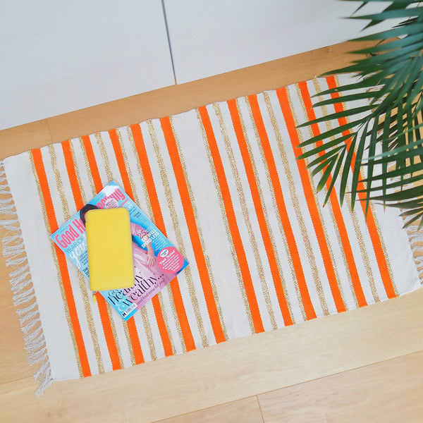 Stripey Floor Mat - Orange/ Gold