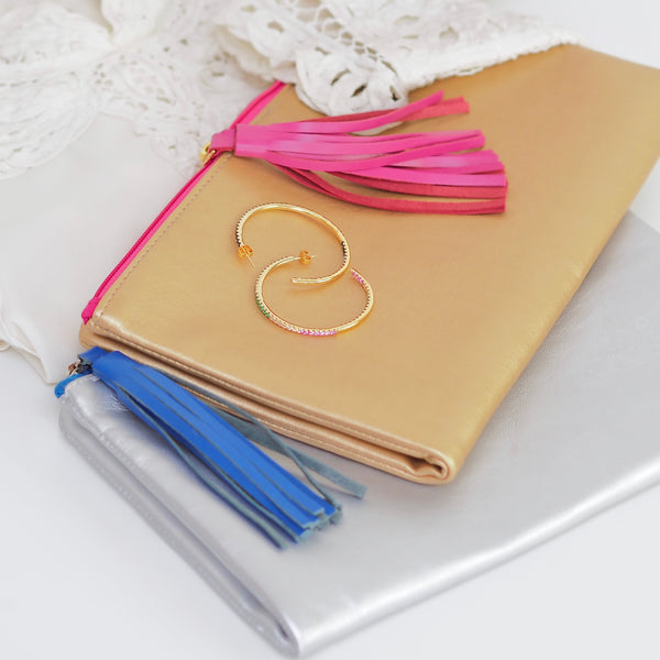 Cleo Clutch - Gold With Pink Tassel & Lining | Gift Pop Boutique