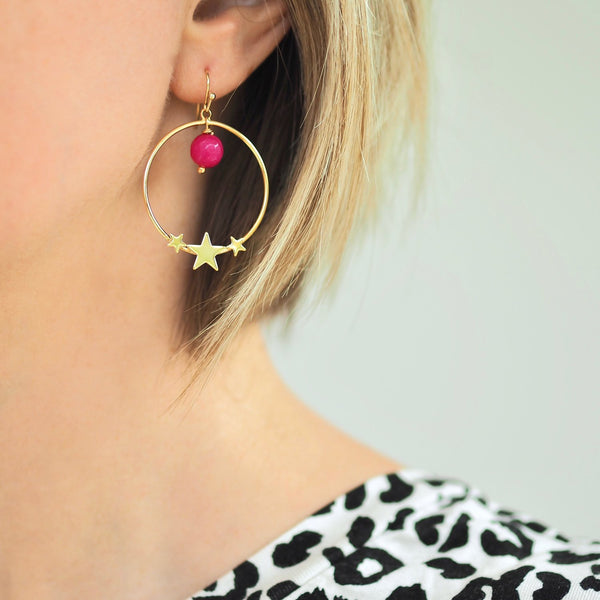 Trio Star Hoop Earrings