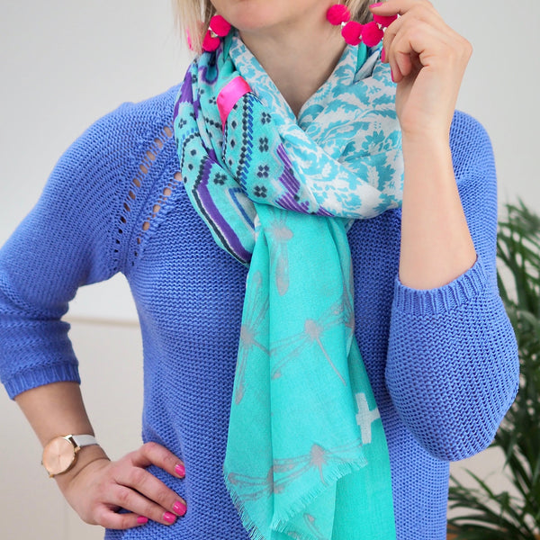 Ribbon Scarf (Aqua/Purple)