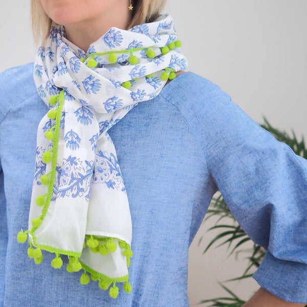 Patterned Pom Scarf (Blue/White)