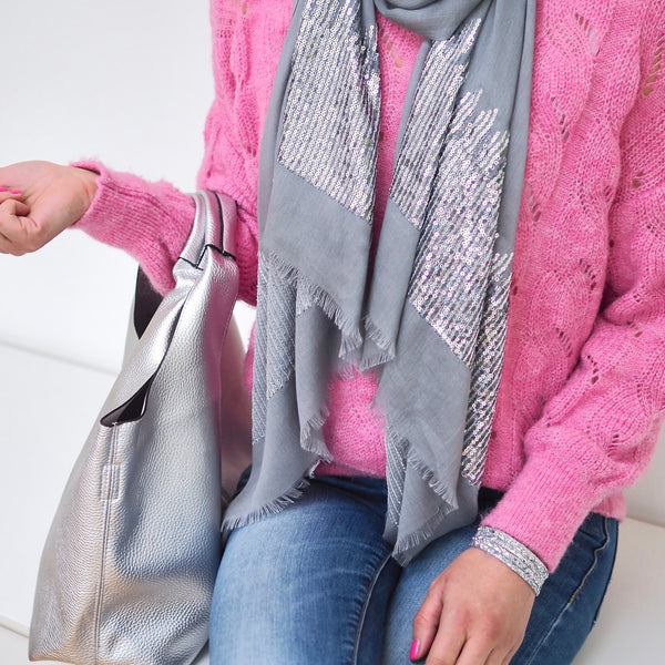 Sequin Scarf - Pale Grey with Silver Sequins