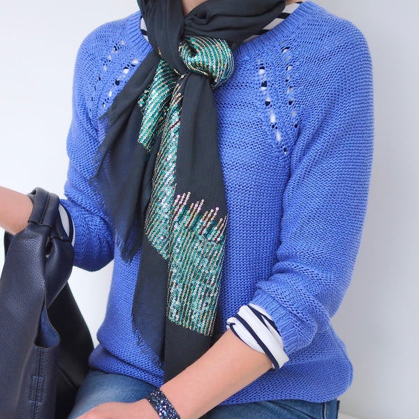 Sequin Scarf - Navy with Blue and  Green Sequins